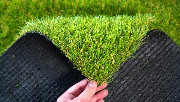 clean artificial turf up close