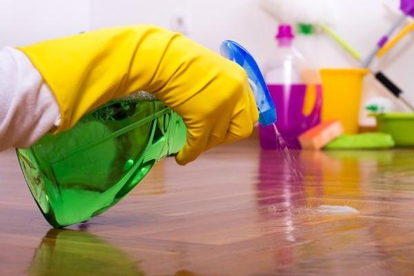 spraying the floor